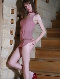 Beautiful teen at hand long legs shows her pussy