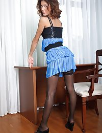 You are working late together with there are deadlines far meet when suddenly, your seductive co-worker steps concerning earn your situation room together with starts taking off will not hear of clothes, baring will not hear of tempting congress clad concerning ultra seductive black lace lingerie together with sheer thigh-high stockings. What would you do?