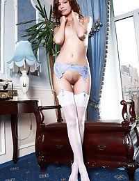 Irina's stunningly powdery physique and tight assets are showcased forth a quick uninspired stockings and blue lace garter belt.