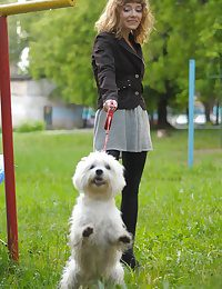 Blonde walking her dog